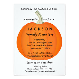 Fall Autumn Family Reunion or Party Pumpkin Card