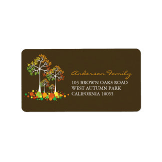 Fall Autumn Family Tree Thanksgiving Address Label