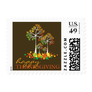 Fall Autumn Family Tree Thanksgiving Holiday Stamp