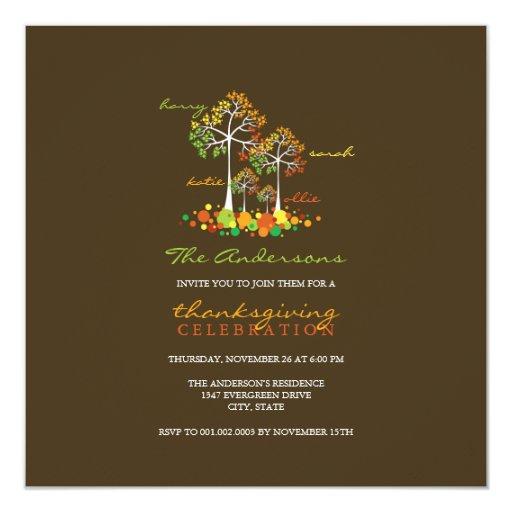 "Fall / Autumn Family Tree Thanksgiving Invitation 5.25"" Square Invitation Card"