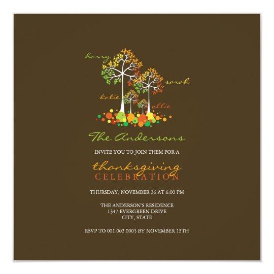 Fall Autumn Family Tree Thanksgiving Party Invite