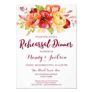 Fall Autumn Floral Rehearsal Dinner Invitation