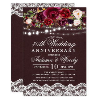 Fall Autumn Floral Wedding Anniversary Invitation
