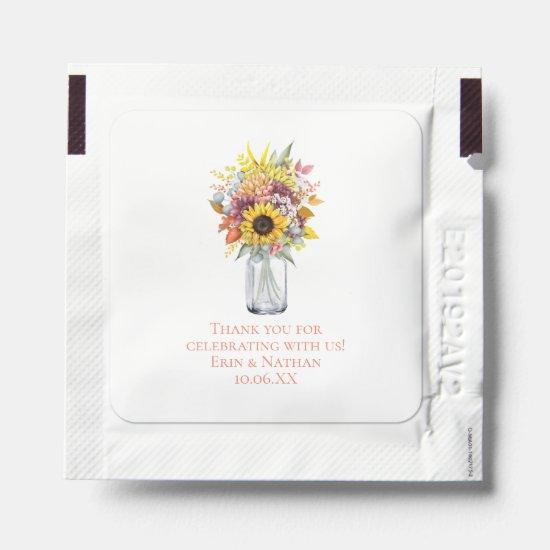 Fall Autumn Flowers Wedding Favor Hand Sanitizer Packet
