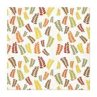 Fall Autumn Harvest Branches Leaves Twigs Pattern Canvas Print