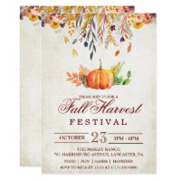 Fall Autumn Harvest Festival Party Invitation