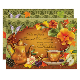 Fall Autumn Harvest Tea Party Invitation