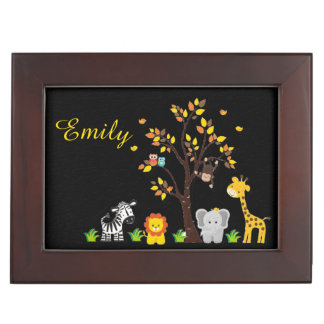 Fall Autumn Jungle Safari Nursery Animal Baby Memory Box