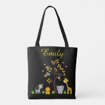 Fall Autumn Jungle Safari Nursery Animal Baby Tote Bag