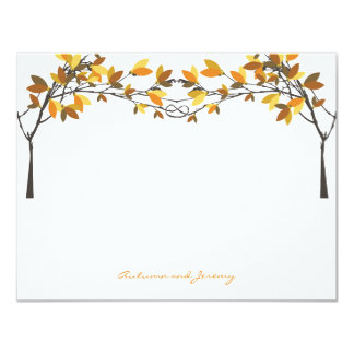 Fall Autumn Knotted Love Trees Wedding Thank You 4.25x5.5 Paper Invitation Card