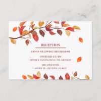 Fall Autumn Leafs Wedding Reception Cards