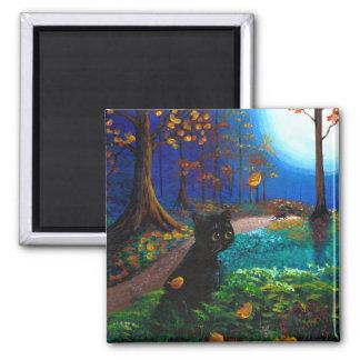 Fall Autumn Leaves Black Cat Moon Creationarts Refrigerator Magnet