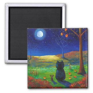 Fall Autumn Leaves Black Cat Moon Creationarts Refrigerator Magnets