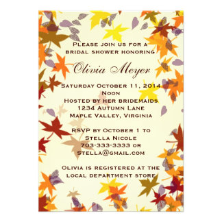 Fall Autumn Leaves Bridal Shower Invitation Personalized Invite