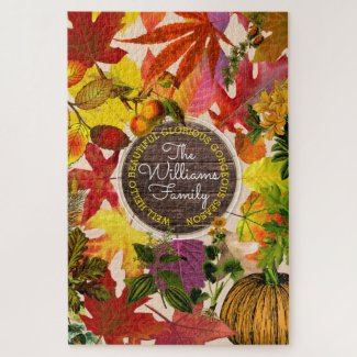Fall Autumn Leaves Collage Monogram Vintage Wood Jigsaw Puzzle