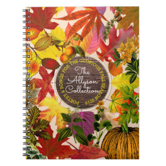 Fall Autumn Leaves Collage Monogram Vintage Wood Notebook