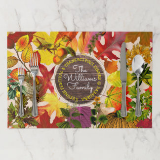 Fall Autumn Leaves Collage Monogram Vintage Wood Paper Placemat