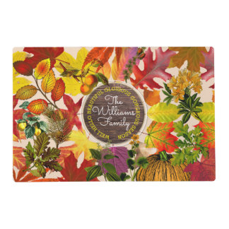 Fall Autumn Leaves Collage Monogram Vintage Wood Placemat