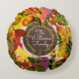 Fall Autumn Leaves Collage Monogram Vintage Wood Round Pillow