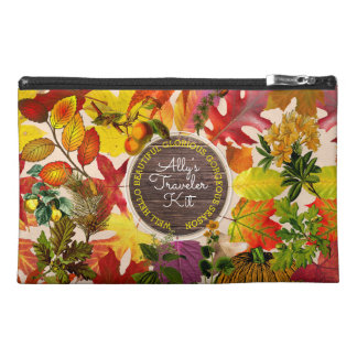Fall Autumn Leaves Collage Monogram Vintage Wood Travel Accessory Bag