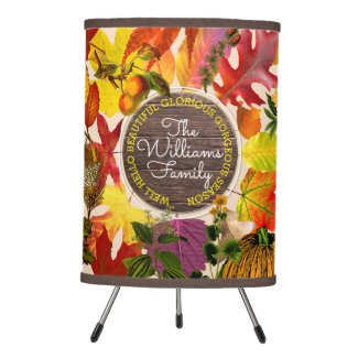 Fall Autumn Leaves Collage Monogram Vintage Wood Tripod Lamp