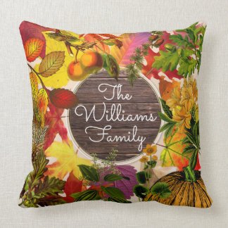 Fall Autumn Leaves Collage Vintage Wood Monogram Throw Pillow