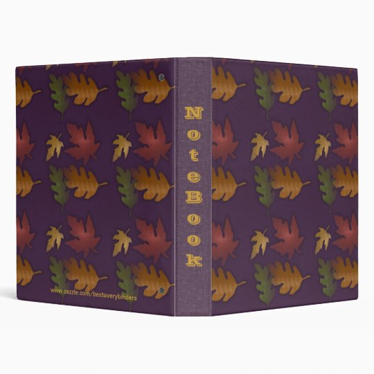 Fall Autumn Leaves Pattern Notebook Avery Binder