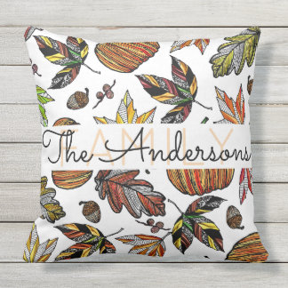 Fall Autumn Leaves Pumpkin Acorns Family Monogram Throw Pillow