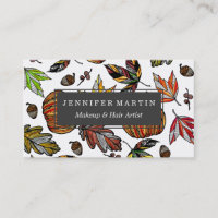 Fall Autumn Leaves Pumpkin and Acorns Illustration Business Card