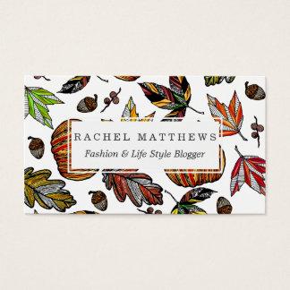 Fall Autumn Leaves Pumpkin and Acorns Illustration Business Card