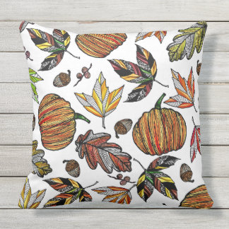 Fall Autumn Leaves Pumpkin and Acorns Illustration Outdoor Pillow