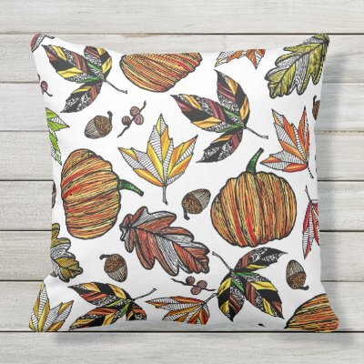 Charming Pumpkin On Orange Yellow Autumn Fall Leaves Lumbar Pillow | Zazzle.com