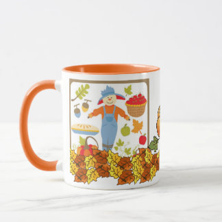 Fall Autumn Leaves Pumpkin Vines Colorful Grace Mug