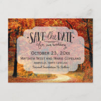 Fall Autumn Leaves Rustic Wedding Save The Date Announcement Postcard