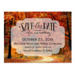 Fall Autumn Leaves Rustic Wedding Save The Date Postcard at Zazzle