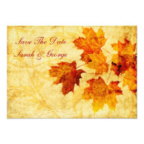 fall autumn  leaves save the date announcement