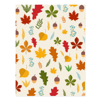 Fall Autumn leaves Seasonal decoritive thankgiving Postcard