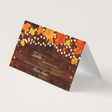 Beach Themed Fall Autumn Leaves & String Lights Wood Table Seat Place Card