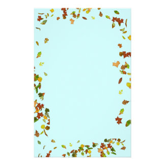 FALL / AUTUMN LEAVES,Teal Blue Stationery