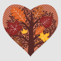 Fall Autumn Leaves Tree November Harvest Heart Sticker