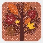Fall Autumn Leaves Tree November Harvest Square Sticker