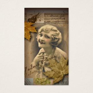 fall autumn leaves vintage gatsby Girl parisian Business Card