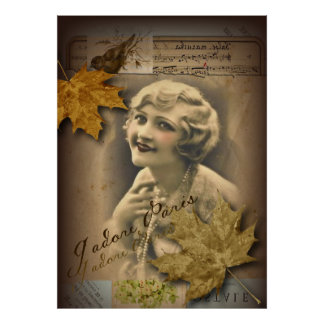 fall autumn leaves vintage gatsby Girl parisian Poster