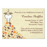 Fall Autumn Leaves Wedding Dress Bridal Shower 4.5x6.25 Paper Invitation Card