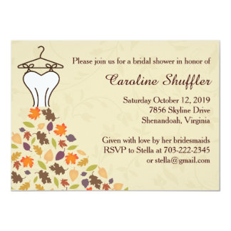 Fall Autumn Leaves Wedding Dress Bridal Shower Card