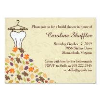 Fall Autumn Leaves Wedding Dress Bridal Shower Invitation