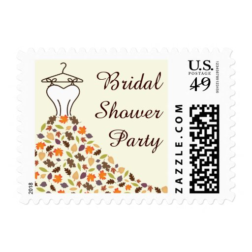 Fall Autumn Leaves Wedding Dress Bridal Shower Postage Stamps