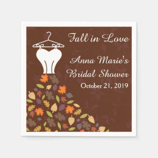 Fall Autumn Leaves Wedding Dress Bridal Shower Disposable Napkins