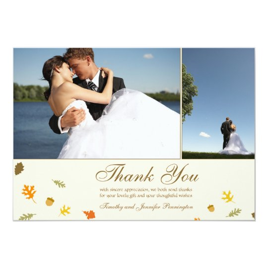 Fall autumn leaves wedding thank you flat 2 photo card