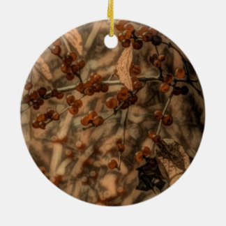 Fall Autumn leaves Wild Red Berries Ceramic Ornament